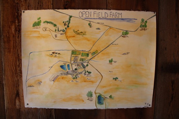 A map of Open Field Farm, by one of the staff