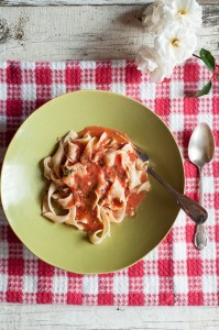 Summer Tomato Sauce with Pappardelle.© Liza Gersham, 2014.