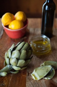 A simple way to enjoy the season is with fresh artichokes--don't overcook them--dipped in the best olive oil. Photo by Liza Gershman, from The Good Cook's Book of Oil & Vinegar