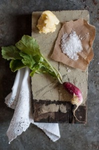 Sweet spring butter, French breakfast radishes, Maldon salt flakes = a simple spring pleasure. Photo by Liza Gershman from The Good Cook's Book of Salt & Pepper