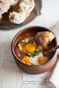Shakshuka for one, from The Good Cook's Book of Tomatoes (Skyhorse Publishing, 2015). Photo by Liza Gershman