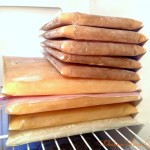 For the most efficient storage, stack stock in sealed freezer bags.