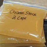 Ladle cooled stocks into freezer bags that you have already labeled with type and quantity.